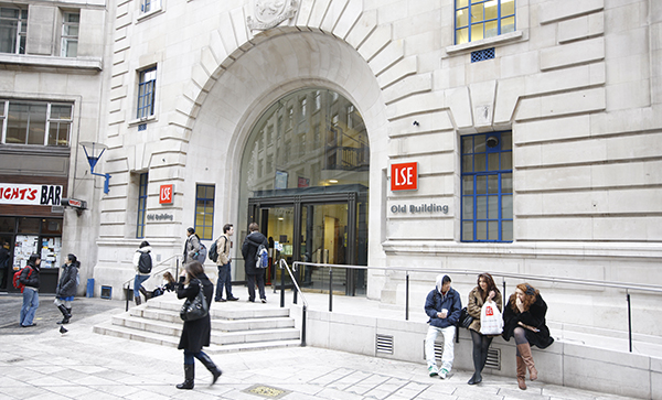 New LSE logo at the entrance to Old Building on Houghton Street