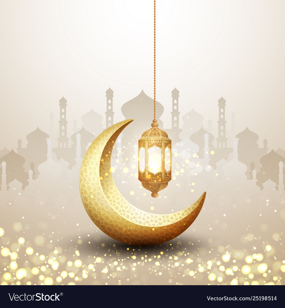 Islamic background with a combination of hanging gold lanterns and golden crescent moon. Fancy backgrounds for posters, banners, greeting cards and more.